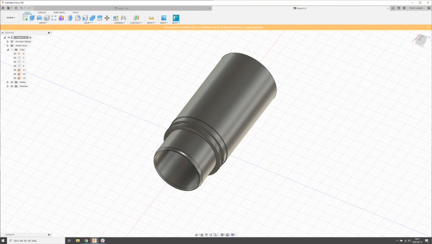 CAD-model in the 3D-modeling software Autodesk Fusion 360